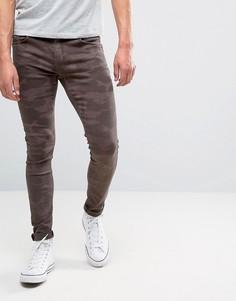 Коричневые камуфляжные джинсы скинни Brooklyn Supply Co - Коричневый
