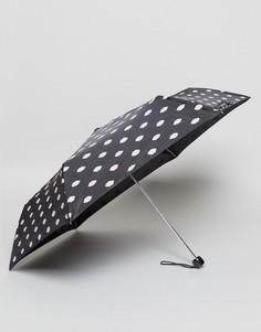 Ультракомпактный зонт с принтом губ Lulu Guinness - Черный
