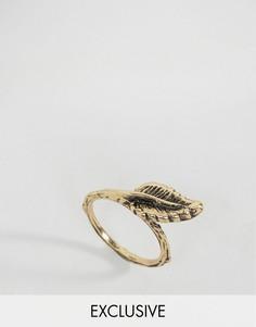 Кольцо с дизайном в виде листика DesignB London - Золотой