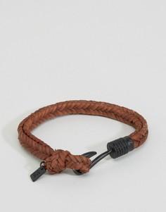 Коричневый плетеный браслет с крючком Icon Brand - Коричневый