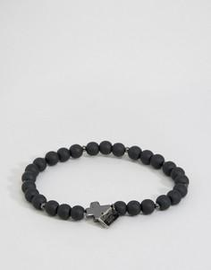 Черный матовый браслет с бусинами и крестом Icon Brand - Черный