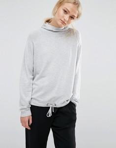 Вязаное худи с затягивающимся шнурком по низу JDY - Серый
