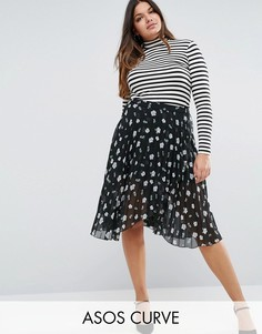 ASOS CURVE Pleated Midi Skirt with Wrap Front Detail in Floral Print - Мульти