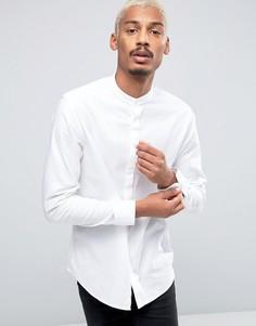Рубашка узкого кроя с воротником с застежкой на пуговицы и длинными рукавами Selected Homme - Белый