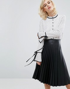 Блузка в горошек с завязками Fashion Union - Белый