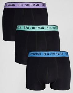 Набор из 3 боксеров-брифов с цветным поясом Ben Sherman - Черный