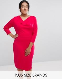 Платье с драпированным воротом Goddiva Plus - Розовый