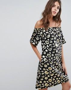 Платье с открытыми плечами Helene Berman - Золотой