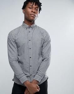 Узкая рубашка в клеточку с воротником на пуговицах Selected Homme - Темно-синий