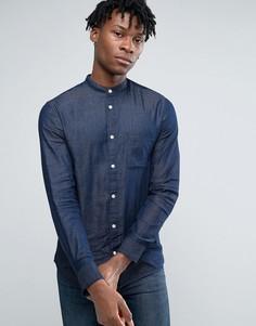 Рубашка узкого кроя с воротником с застежкой на пуговицах Selected Homme - Темно-синий