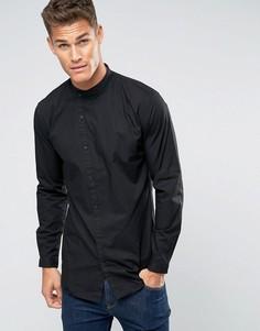 Черная рубашка слим с асимметричной планкой Lindbergh - Черный