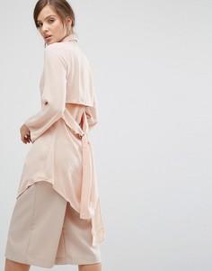 Удлиненная рубашка с вырезом и завязками сзади Parallel Lines - Бежевый
