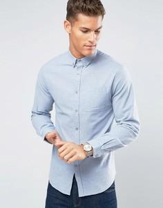 Голубая фланелевая рубашка узкого кроя Lindbergh - Синий