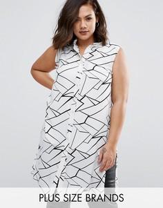 Рубашка размера плюс с абстрактным принтом Koko - Кремовый