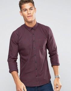 Бордовая рубашка узкого кроя в клеточку Lindbergh - Фиолетовый