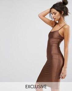 Облегающее платье миди цвета металлик NaaNaa - Коричневый