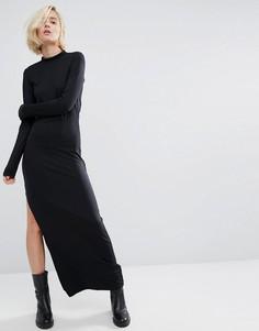 Платье макси с высокой горловиной и разрезом сбоку Dr Denim - Черный