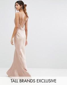 Платье макси с лямками и кружевной вставкой Jarlo Tall - Розовый