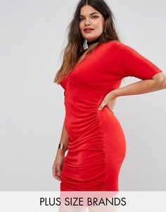 Missguided Plus Ruched Bodycon Dress - Красный