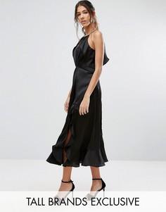 Платье миди с высокой горловиной и рюшами Jarlo Tall - Черный
