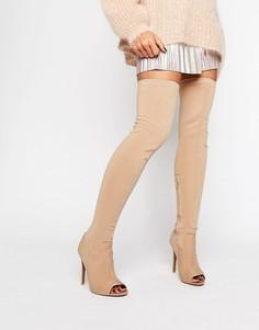 Эластичные сапоги-ботфорты на каблуке с открытым носком Public Desire Rhiannon - Бежевый