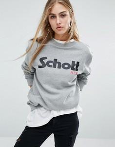 Трикотажный джемпер с логотипом спереди Schott - Серый