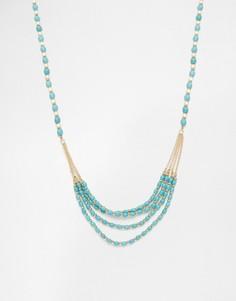Многорядное ожерелье с бусинами Design B - Золотой