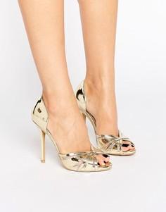 Золотистые сандалии на каблуке с эффектом металлик и открытым носком True Decadence - Золотой