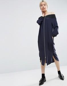 Шелковое платье миди с открытыми плечами ASOS WHITE - Черный