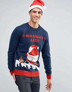 Новогодний джемпер D‑Struct Naughty Santa - Темно-синий