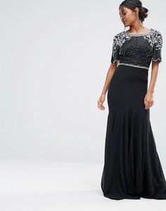 Платье макси с отделкой и юбкой-годе Virgos Lounge - Черный