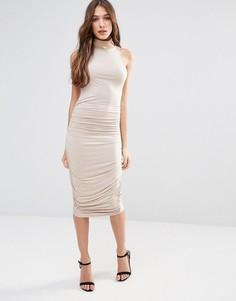 Платье-футляр миди с высоким воротом Vesper - Коричневый Hedonia