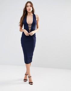 Платье-футляр миди с кружевом Hedonia - Темно-синий