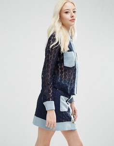 Ажурная блузка с джинсовой отделкой Sister Jane Carnaby - Темно-синий