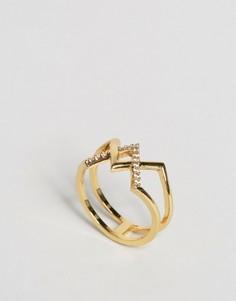 Кольцо с перекрестом и стразами Orelia - Золотой