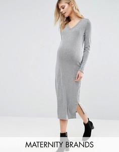 Платье миди для беременных в полоску Mamalicious Maternity Mellow - Серый Mama.Licious