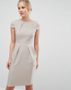 Платье-футляр миди с короткими рукавами и завязкой сзади Closet - Серый