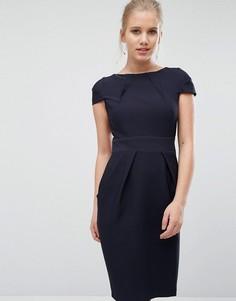 Платье-футляр миди с короткими рукавами и завязкой сзади Closet - Темно-синий