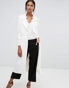 Пальто с завязывающимся поясом Closet - Белый