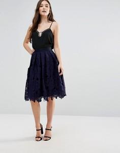 Кружевная юбка миди Closet - Синий