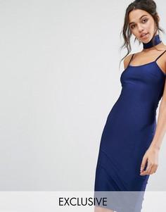 Облегающее платье миди с чокером NaaNaa - Темно-синий