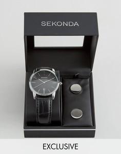 Часы с черным кожаным ремешком и запонки в подарочном наборе Sekonda эксклюзивно для ASOS - Черный
