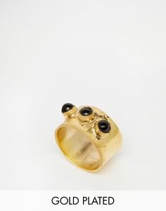 Позолоченное фактурное кольцо с ониксом Mirabelle - Золотой