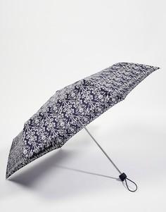 Узкий зонт с викторианским дамасским принтом Fulton 2 - Черный