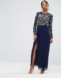 Платье макси с длинными рукавами и декоративной отделкой Virgos Lounge - Темно-синий
