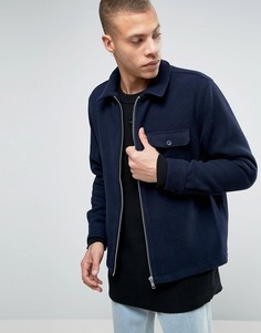 Шерстная куртка с 2 карманами Weekday Greg - Темно-синий