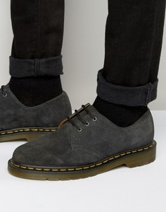 Замшевые туфли с 3 люверсами Dr Martens 1461 - Серый