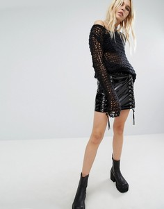 Юбка из ПВХ со шнуровкой по бокам Tripp NYC - Черный