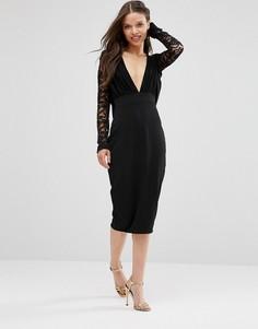 Платье-футляр с кружевными рукавами Hedonia - Черный