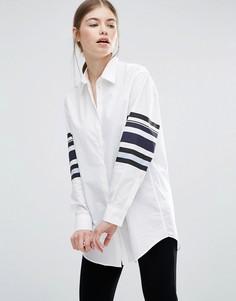 Рубашка с полосами на рукавах Wood Wood Frankie - Белый
